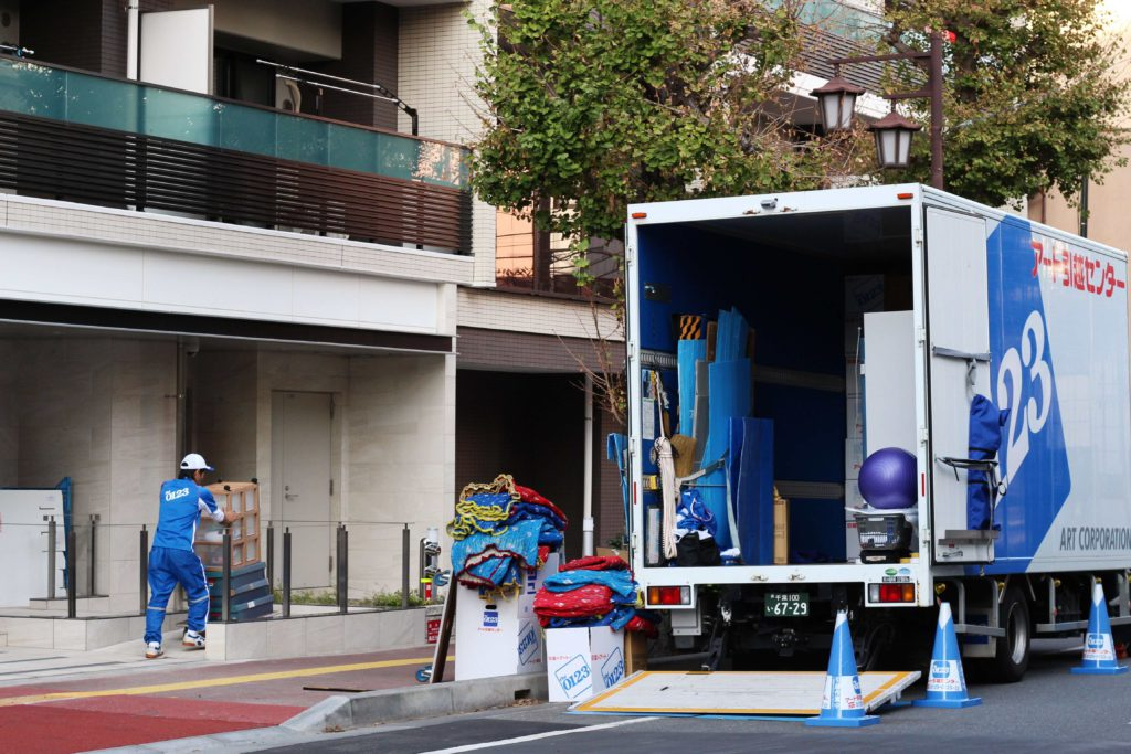 Japanese moving truck and workers