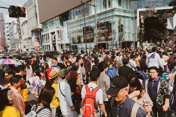 Busy Crowds in Omotesando