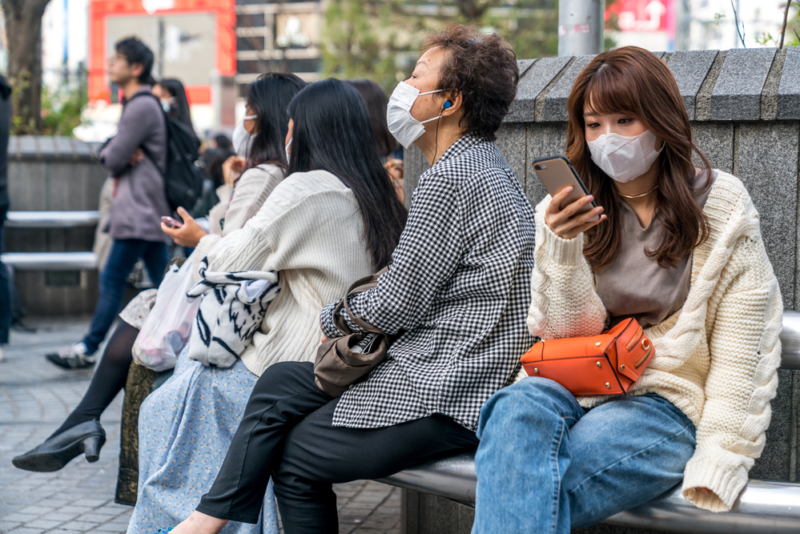 sitting with masks