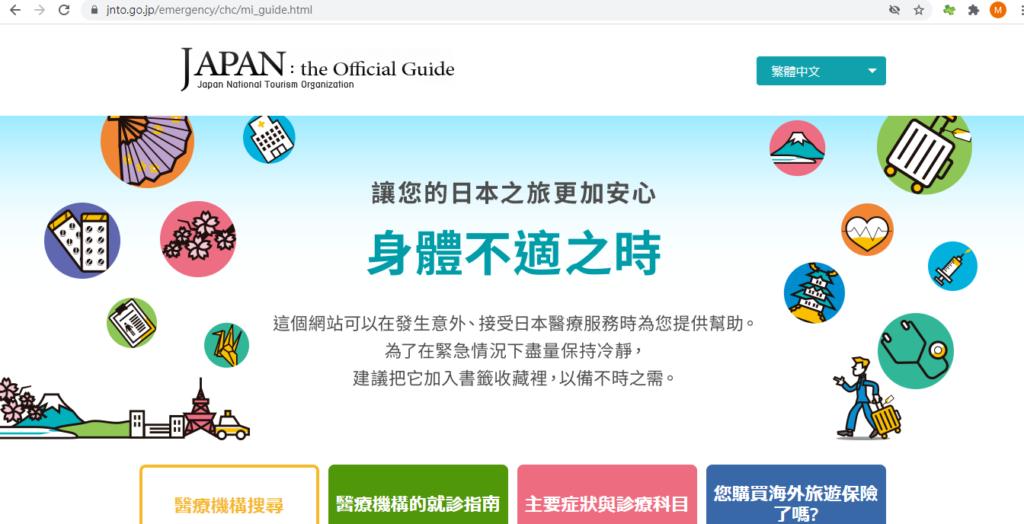 JNTO醫療機構搜尋系統網頁