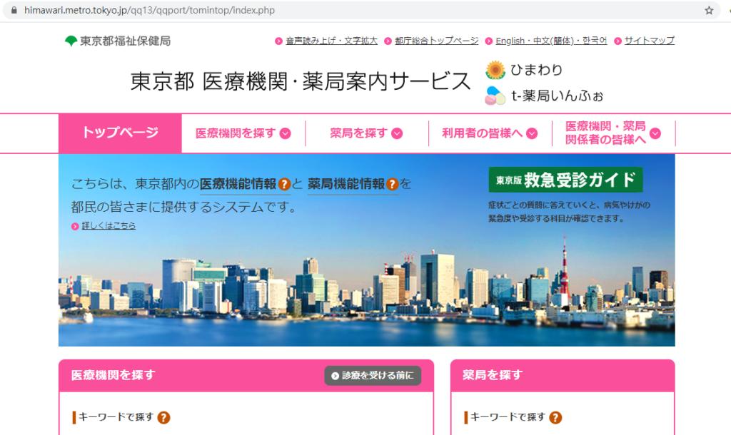 東京都醫療機構與藥局檢索系統