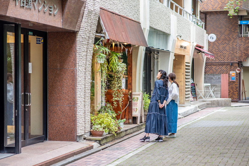 girls looking at a shop in naka-meguro