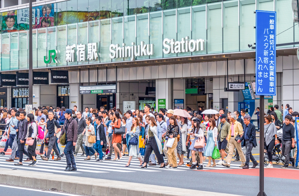 crossing in front of shinjuku station