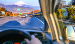 driving a car in japan with mount fuji