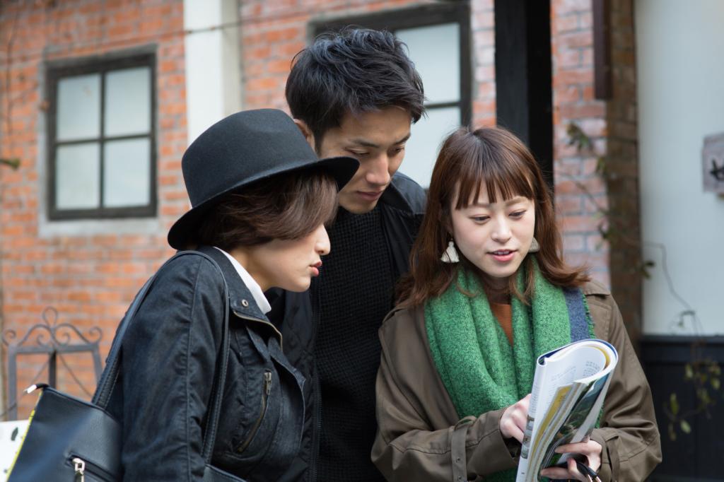 一男兩女看地圖找路