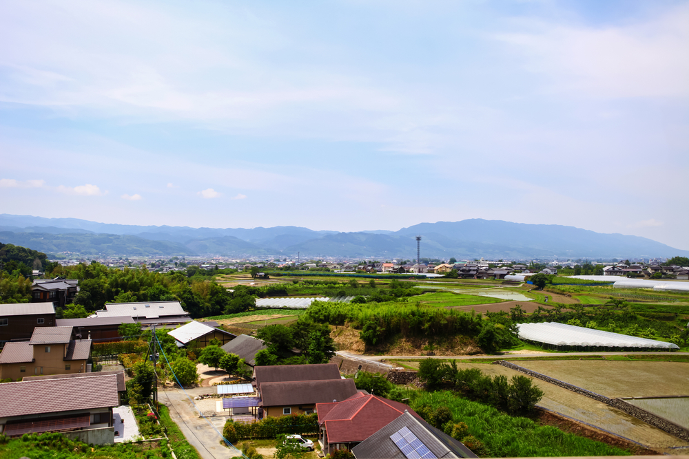 an overhead view of rural japan