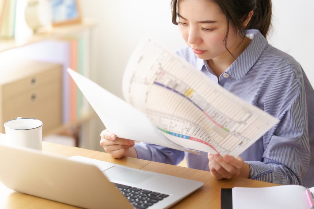 Japanese woman working from home