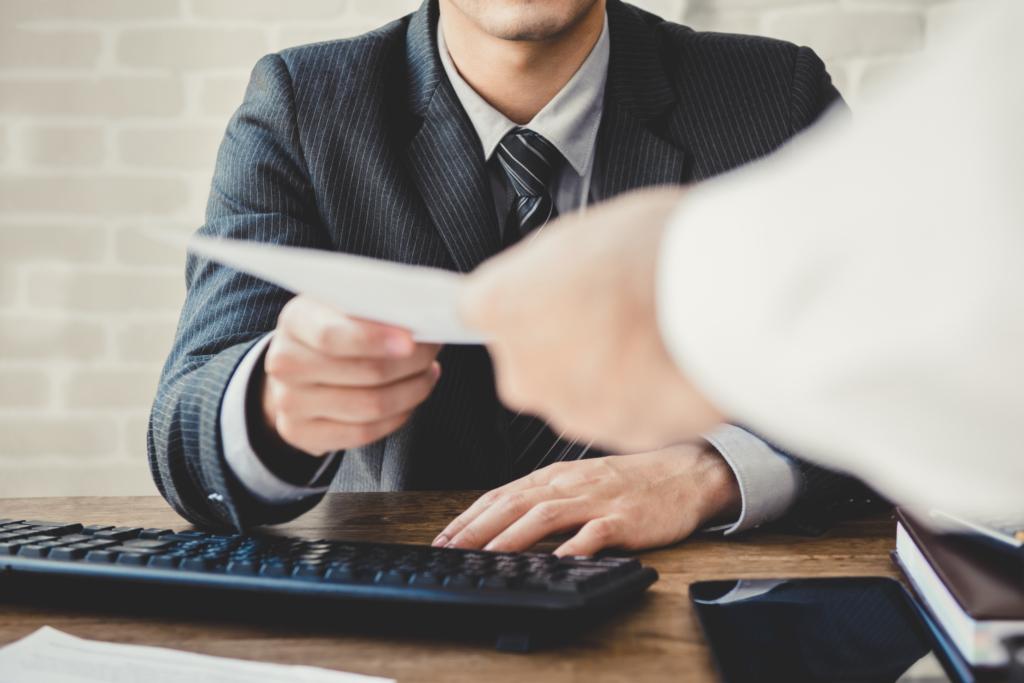 man receiving document