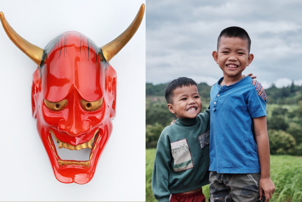 demon mask (oni) vs brothers (ani)