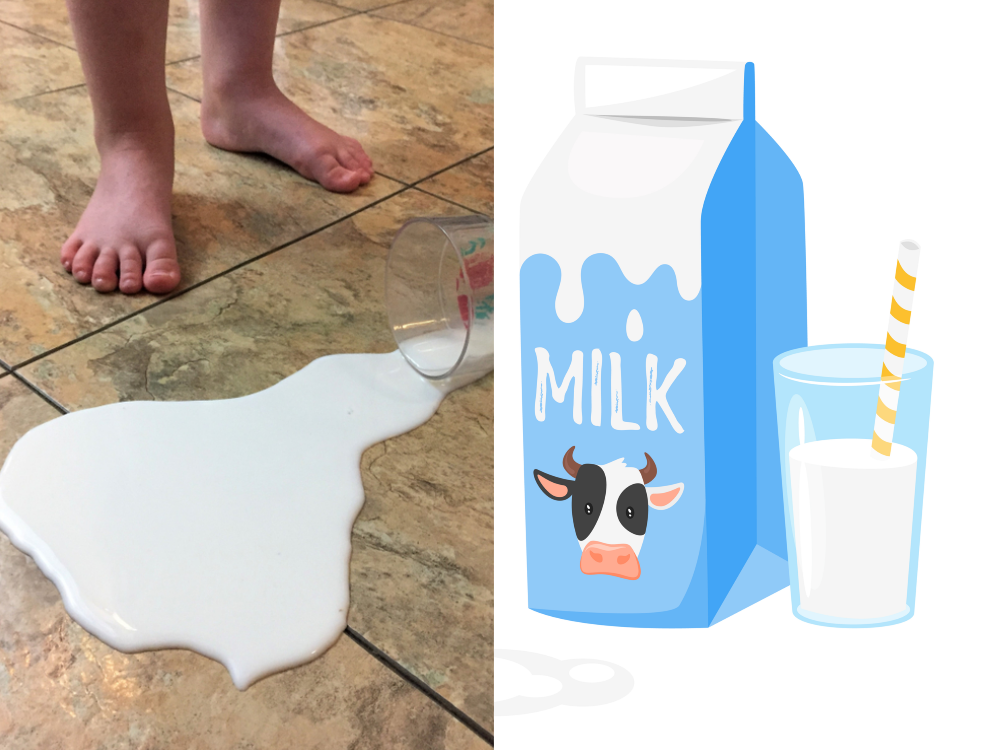 spilled milk vs. cute milk