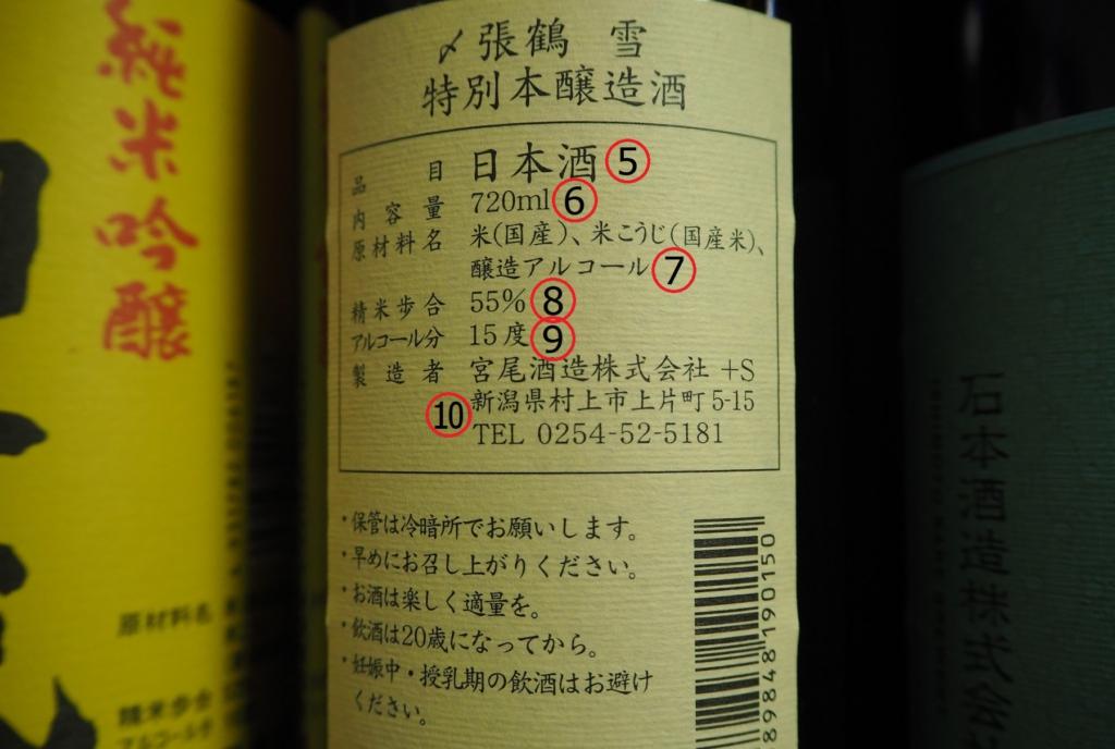 清酒瓶上的背面標籤
