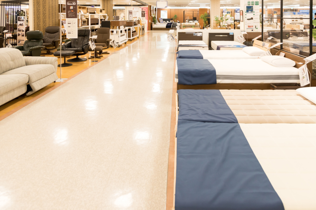 Beds lined up in Home Center