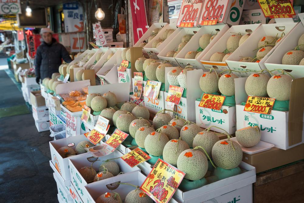 Japanese yubari melons at stall in Hokkaido