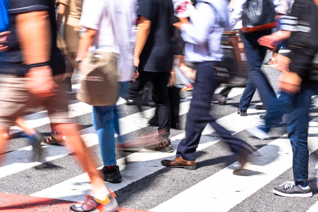 crowded crosswalk