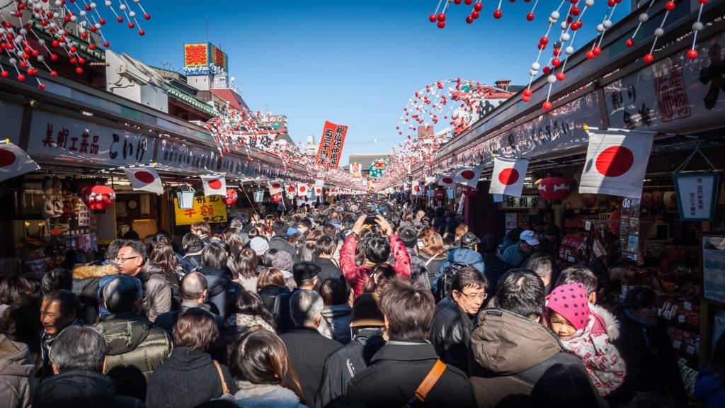 asakusa vào ngày đầu năm mới ở Nhật