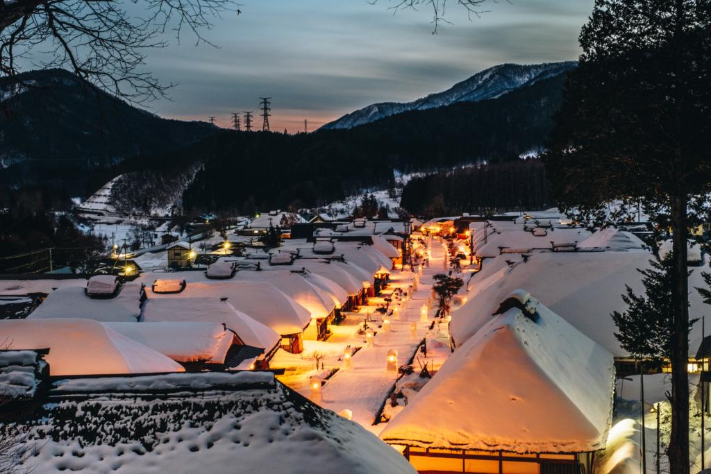 Ouchi-juku vào mùa đông