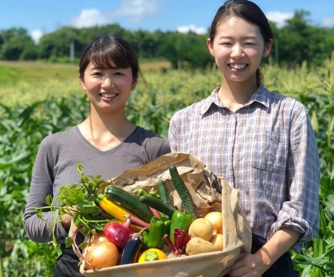 兩個農夫燦笑捧著蔬果籃