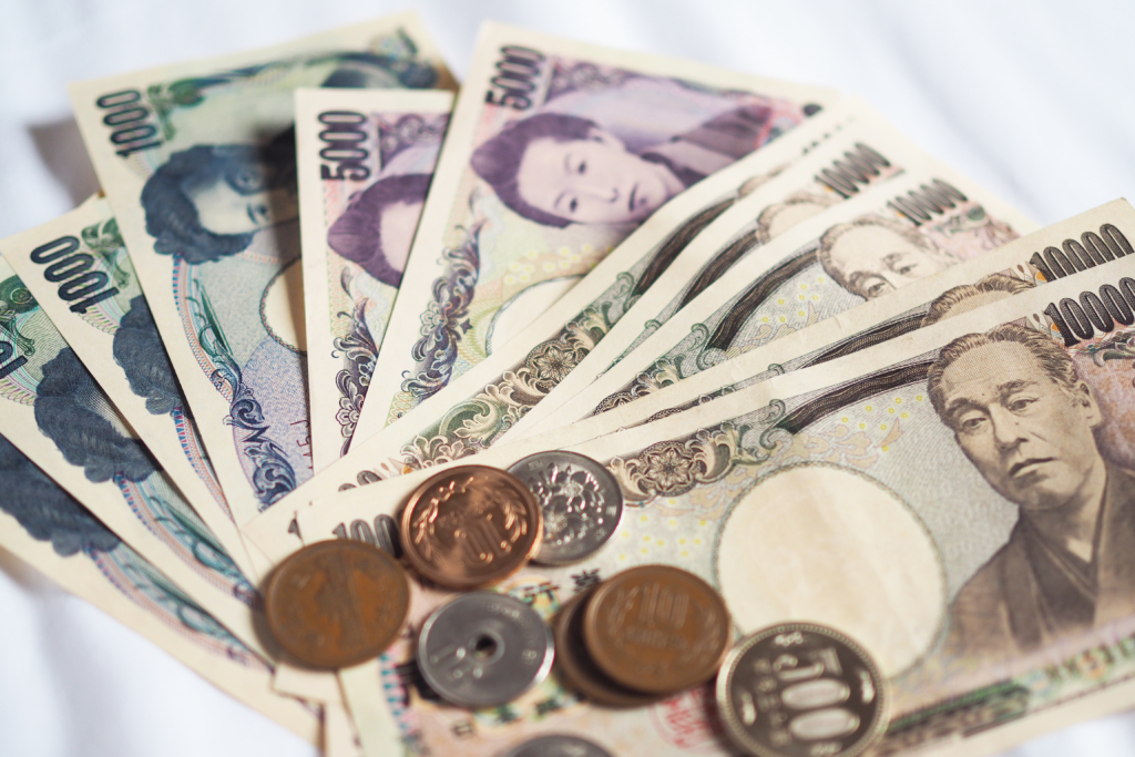 Japanese yen coins and banknotes