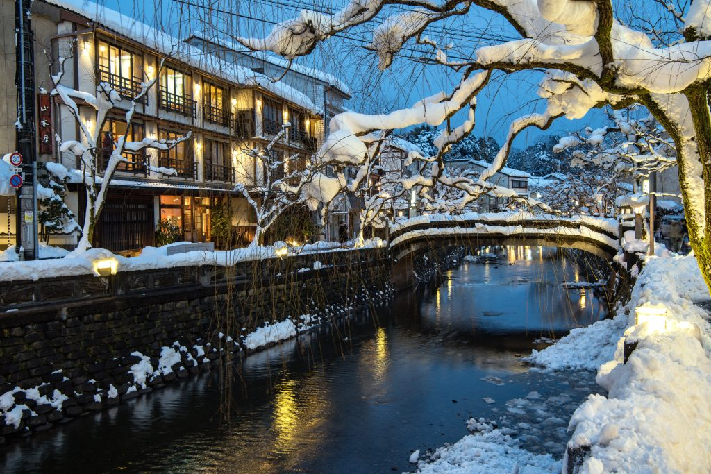 Snowy townscape Kinosaki Onsen