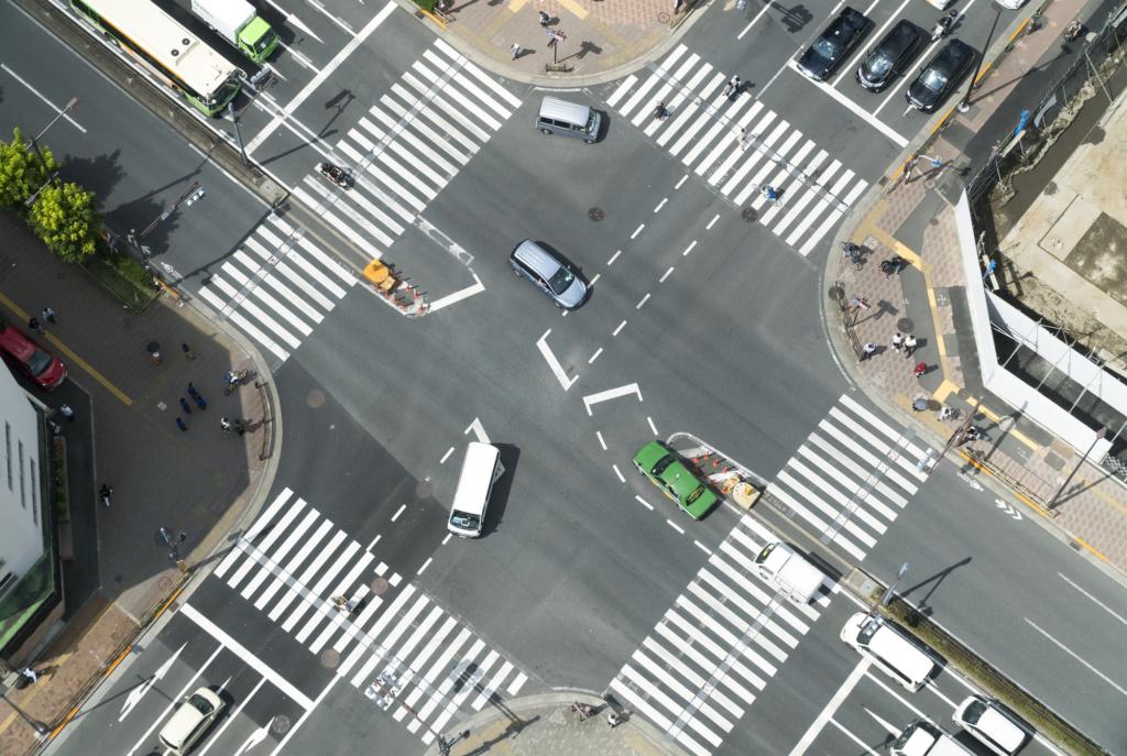 十字路口的俯瞰照