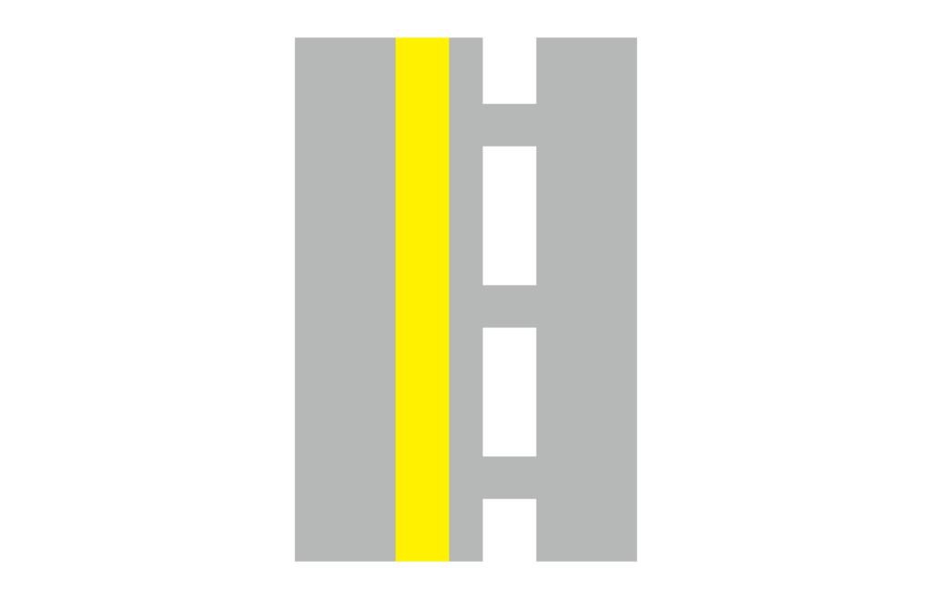 車道線為黃色實線和白色虛線的雙線示意圖