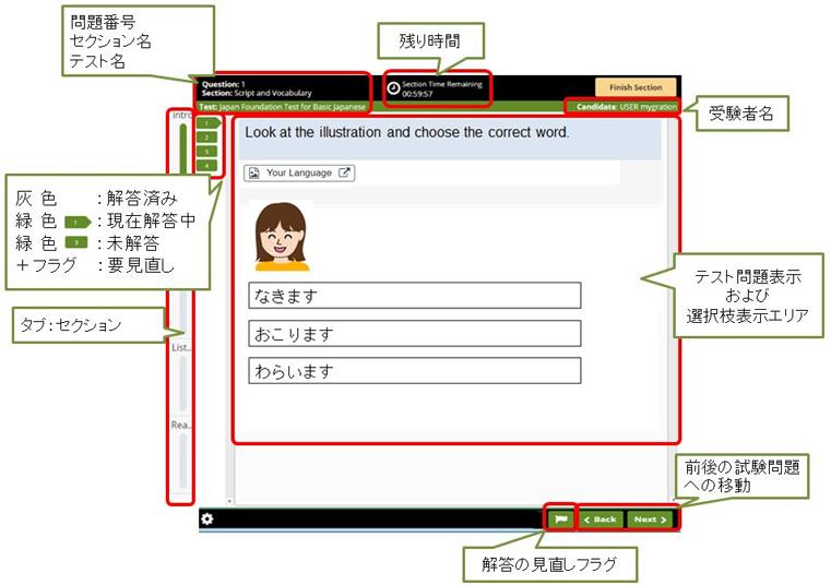 màn hình bài thi JFT-Basic
