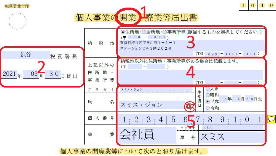 일본 개인 사업 신청 방법