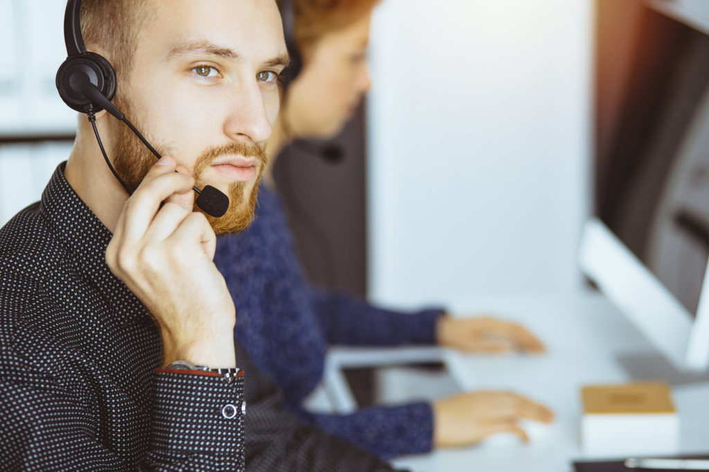 Foreign operator at a call center